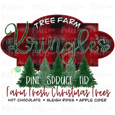 Kringle's Christmas Tree Farm Watercolor Sublimation PNG   Tree Farm Art   Hand Drawn Design   Digital Download   Printable Artwork   Art
