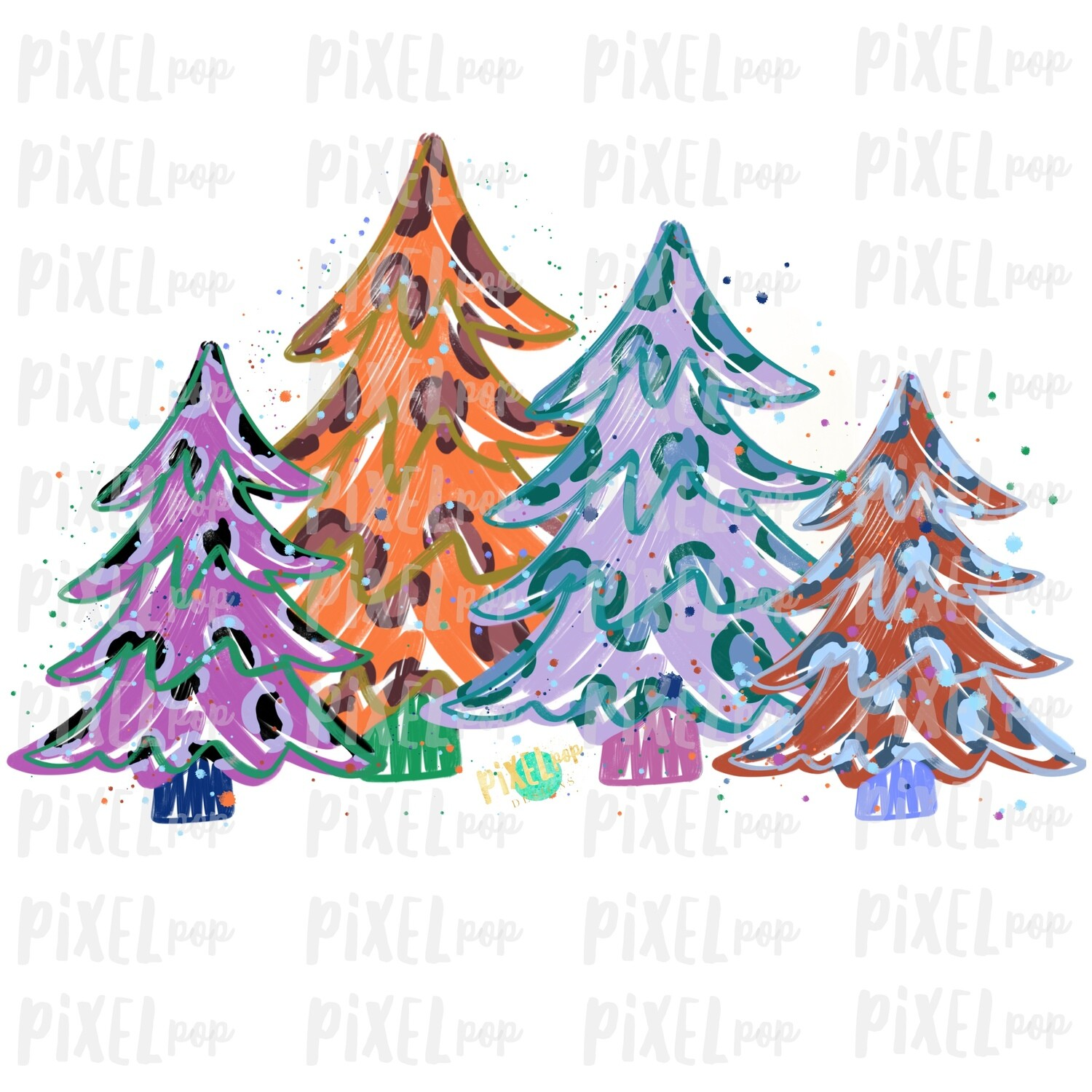 Colorful Leopard Trees BLANK Sublimation PNG | Hand Drawn Design | Sublimation PNG | Digital Download | Printable Artwork | Art