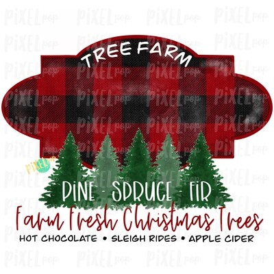 Christmas Tree Farm BLANK Watercolor Sublimation PNG | Tree Farm Art | Hand Drawn Design | Digital Download | Printable Artwork | Art