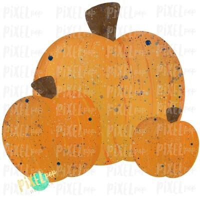 Pumpkin Trio Watercolor with Blue Accents Sublimation Design   Hand Drawn Art   Sublimation PNG   Digital Download   Printable Artwork   Art