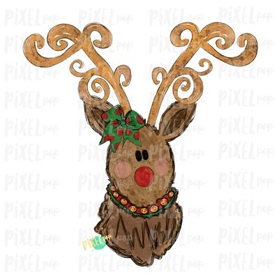 Reindeer Christmas Decorative Antlers with Bow (GIRL) Sublimation PNG | Reindeer Art | Digital Download | Printable Artwork | Clip Art