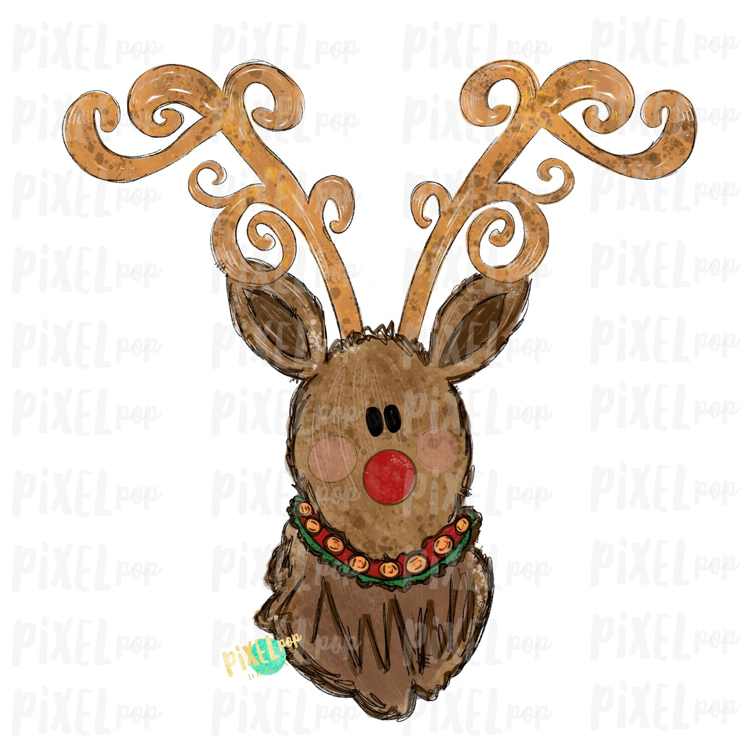 Reindeer Christmas Decorative Antlers No Bow (BOY) Sublimation PNG | Reindeer Art | Digital Download | Printable Artwork | Clip Art