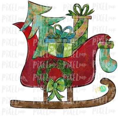 Distressed Santa Sleigh Christmas Sublimation PNG | Reindeer Sleigh | Sleigh Watercolor Christmas Art | Digital Download | Printable Artwork