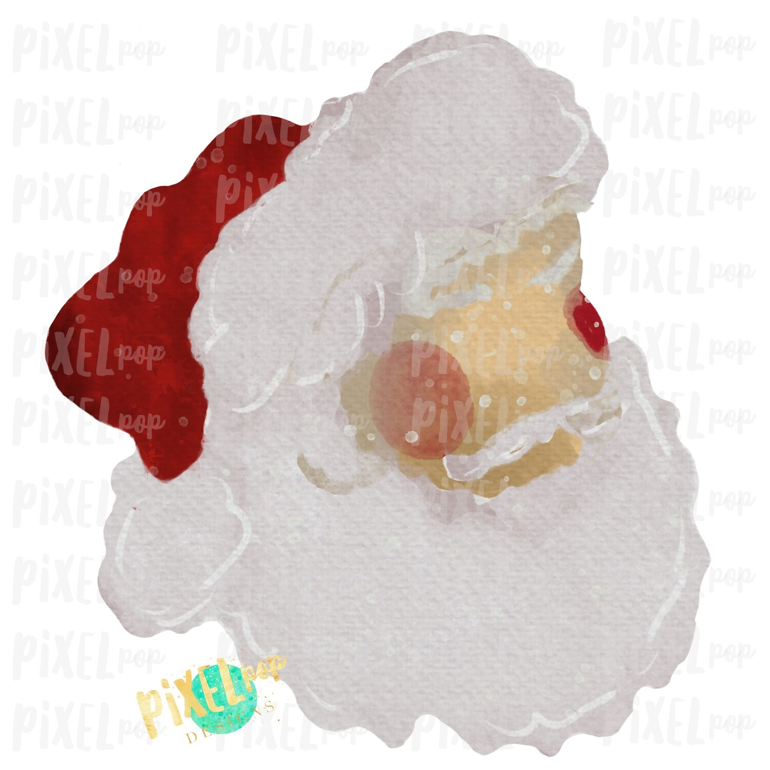 Santa Claus Painted Digital Watercolor Sublimation Art PNG | Drawn Design | Sublimation PNG | Digital Download | Printable Artwork | Art