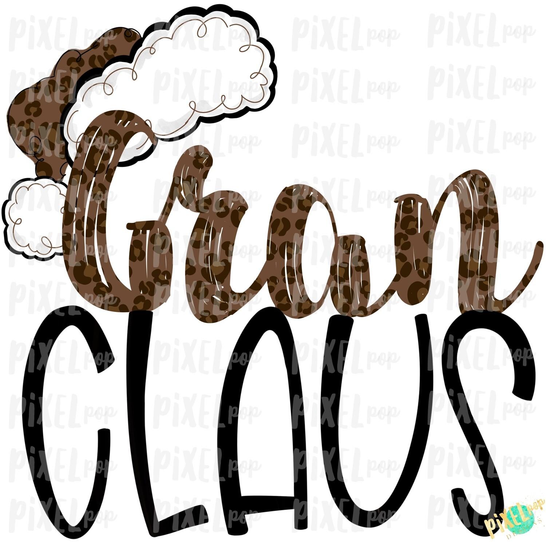 Gran Claus Leopard Santa Digital Watercolor Sublimation PNG | Drawn Design | Sublimation PNG | Digital Download | Printable Artwork | Art