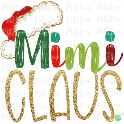 Mimi Claus Santa Hat Digital Watercolor Sublimation PNG Art | Drawn Design | Sublimation PNG | Digital Download | Printable Artwork | Art