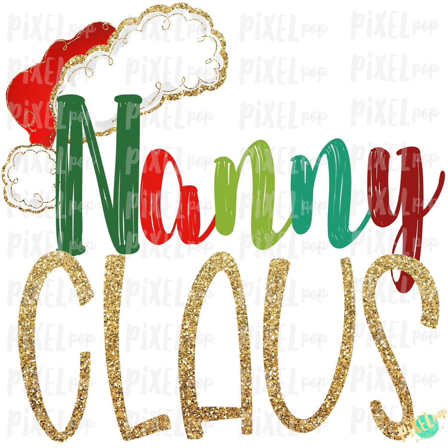 Nanny Claus Santa Hat Digital Watercolor Sublimation PNG Art | Drawn Design | Sublimation PNG | Digital Download | Printable Artwork | Art