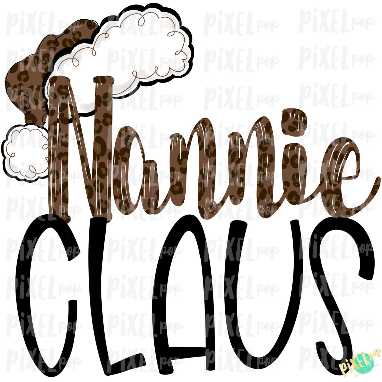 Nannie Claus Leopard Santa Digital Watercolor Sublimation PNG | Drawn Design | Sublimation PNG | Digital Download | Printable Artwork | Art