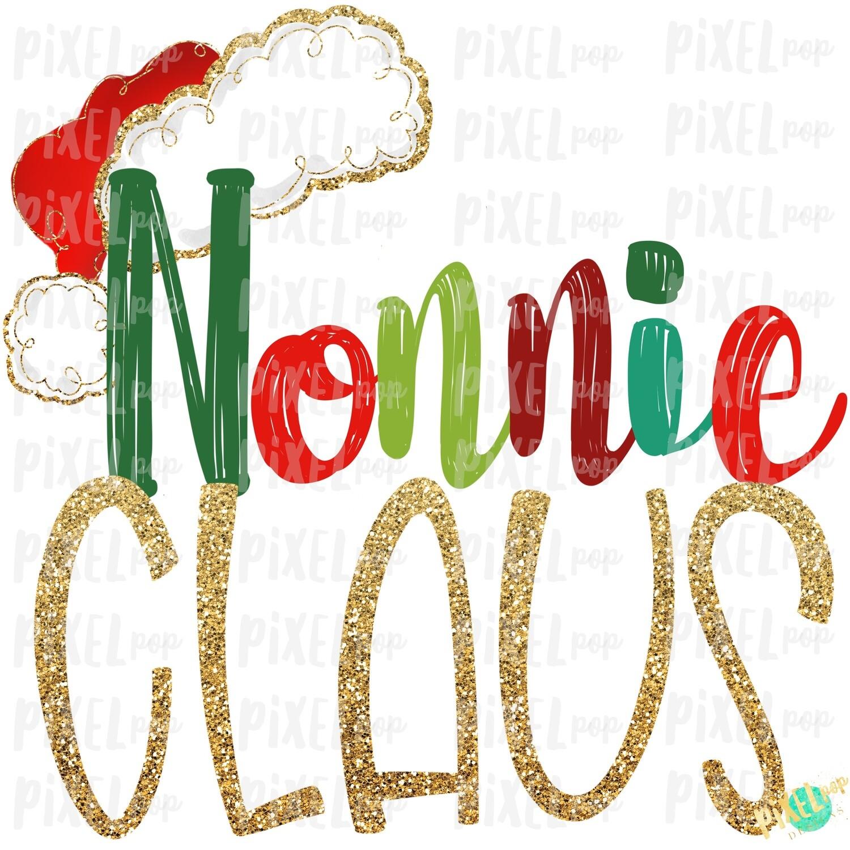 Nonnie Claus Santa Hat Digital Watercolor Sublimation PNG Art   Drawn Design   Sublimation PNG   Digital Download   Printable Artwork   Art