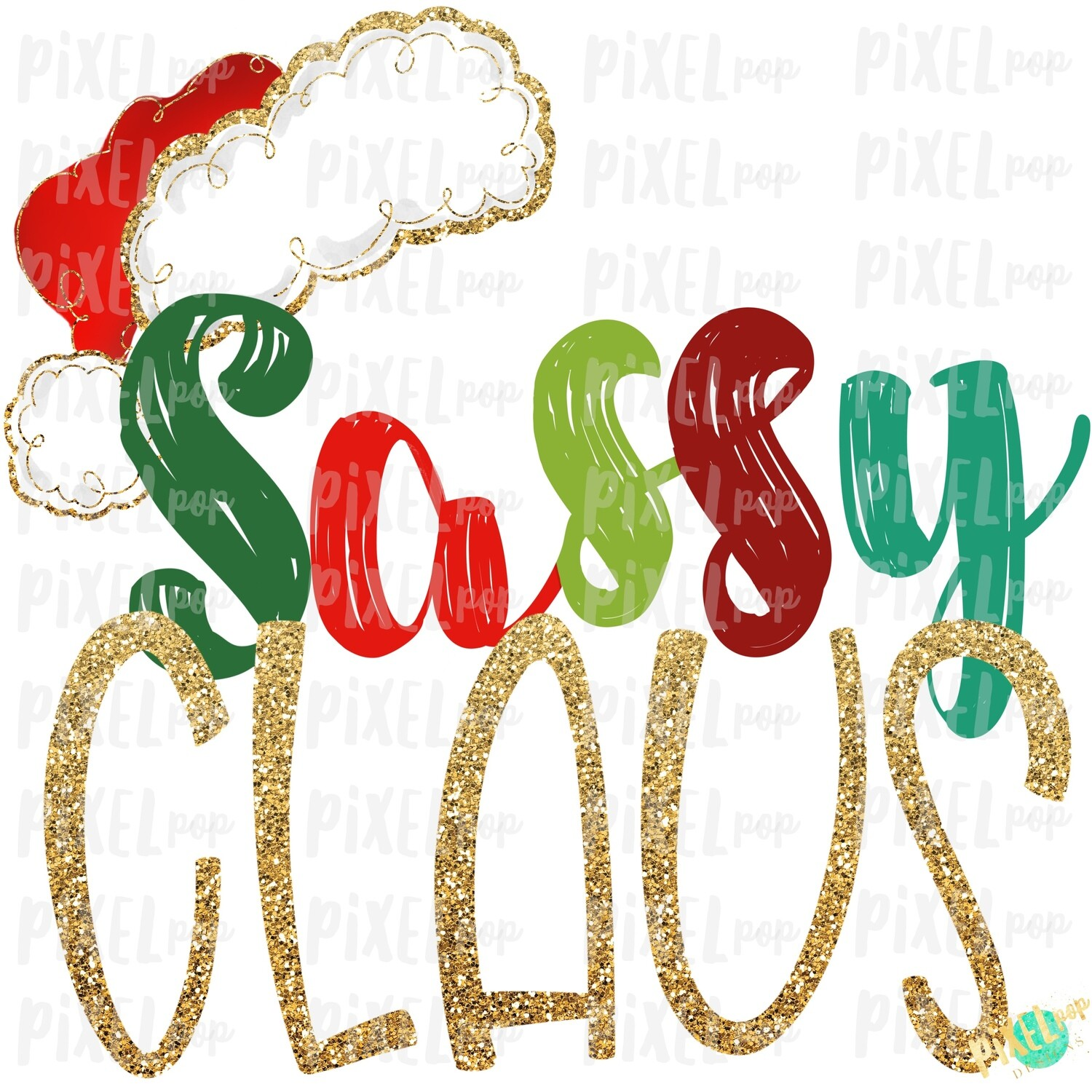 Sassy Claus Santa Hat Digital Watercolor Sublimation PNG Art | Drawn Design | Sublimation PNG | Digital Download | Printable Artwork | Art