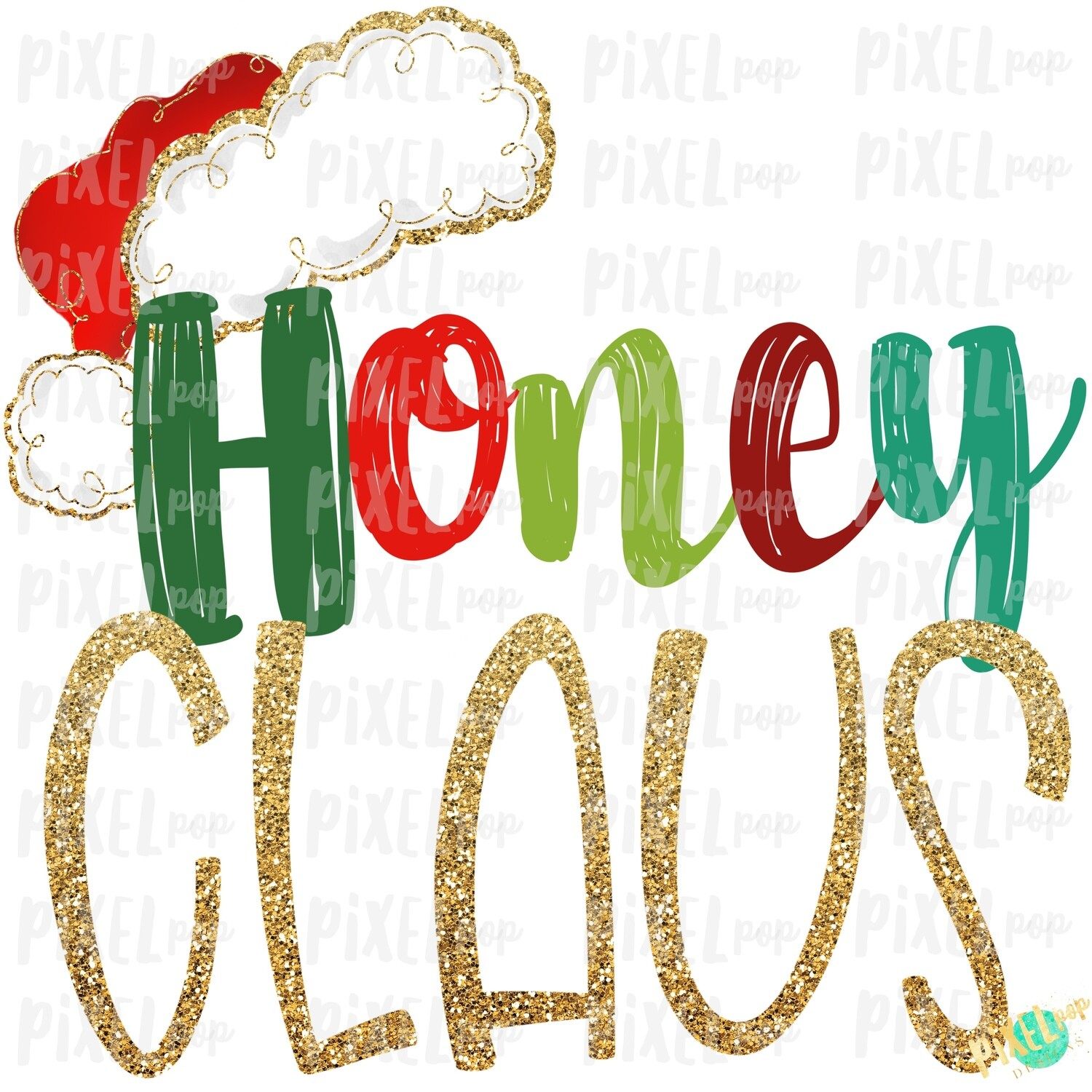 Honey Claus Santa Hat Digital Watercolor Sublimation PNG Art | Drawn Design | Sublimation PNG | Digital Download | Printable Artwork | Art