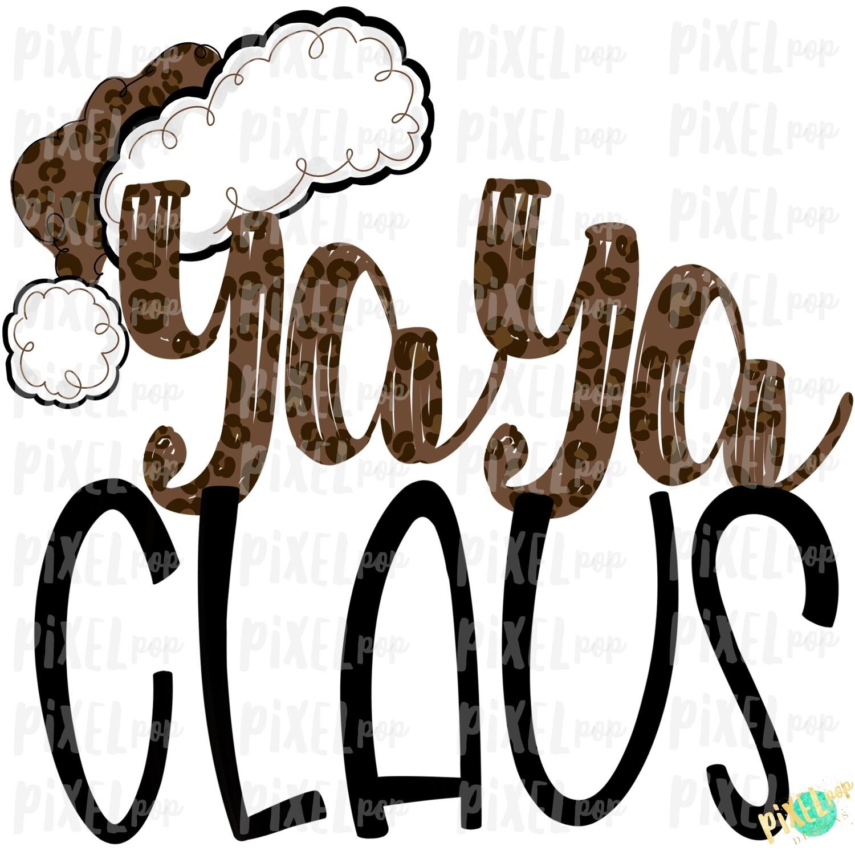 Yaya Claus Leopard Santa Digital Watercolor Sublimation PNG | Drawn Design | Sublimation PNG | Digital Download | Printable Artwork | Art