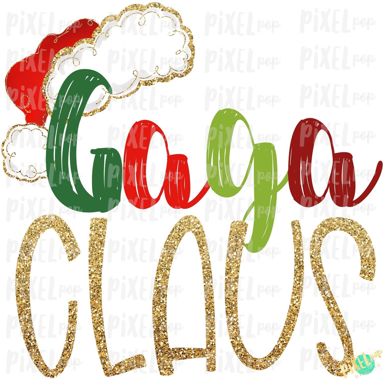 Gaga Claus Santa Hat Digital Watercolor Sublimation PNG Art   Drawn Design   Sublimation PNG   Digital Download   Printable Artwork   Art
