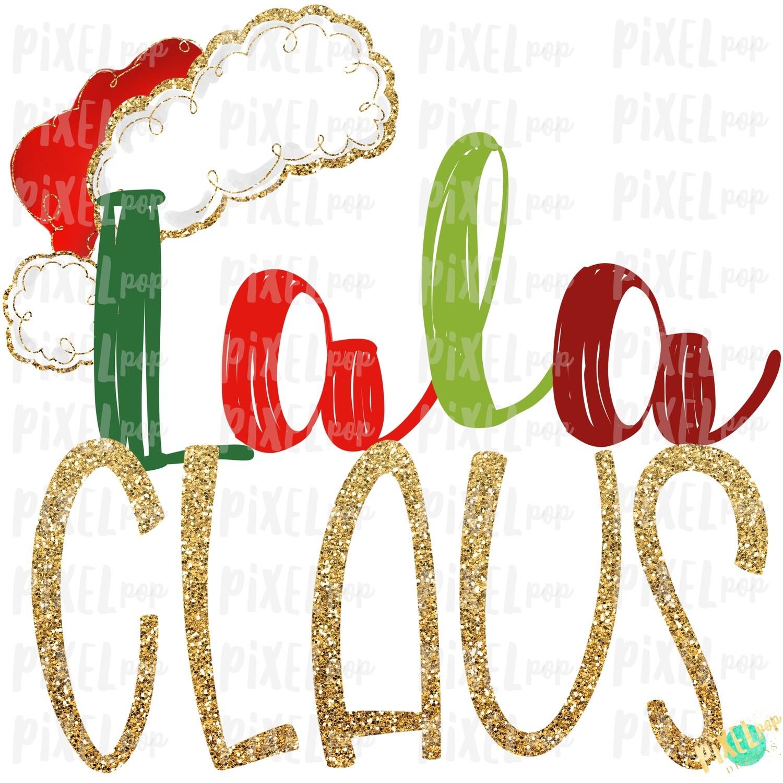 Lala Claus Santa Hat Digital Watercolor Sublimation PNG Art | Drawn Design | Sublimation PNG | Digital Download | Printable Artwork | Art