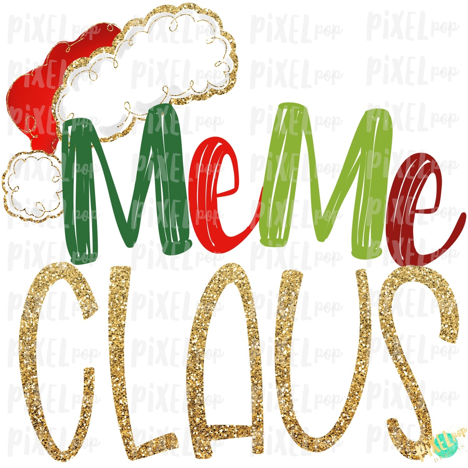 Meme Claus Santa Hat Digital Watercolor Sublimation PNG Art | Drawn Design | Sublimation PNG | Digital Download | Printable Artwork | Art