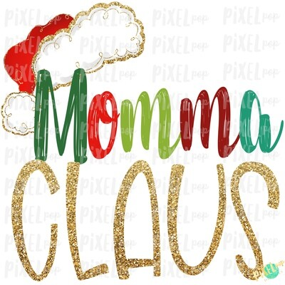 Momma Claus Santa Hat Digital Watercolor Sublimation PNG Art | Drawn Design | Sublimation PNG | Digital Download | Printable Artwork | Art