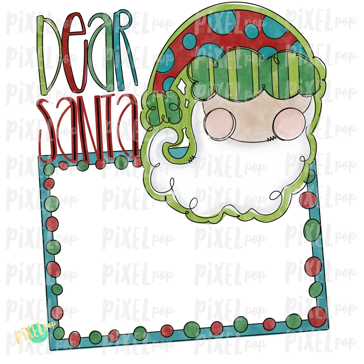 Blank Santa Wishlist PNG | Hand Painted Digital Watercolor Sublimation PNG | Clip Art PNG | Digital Download | Printable Artwork | Santa Art