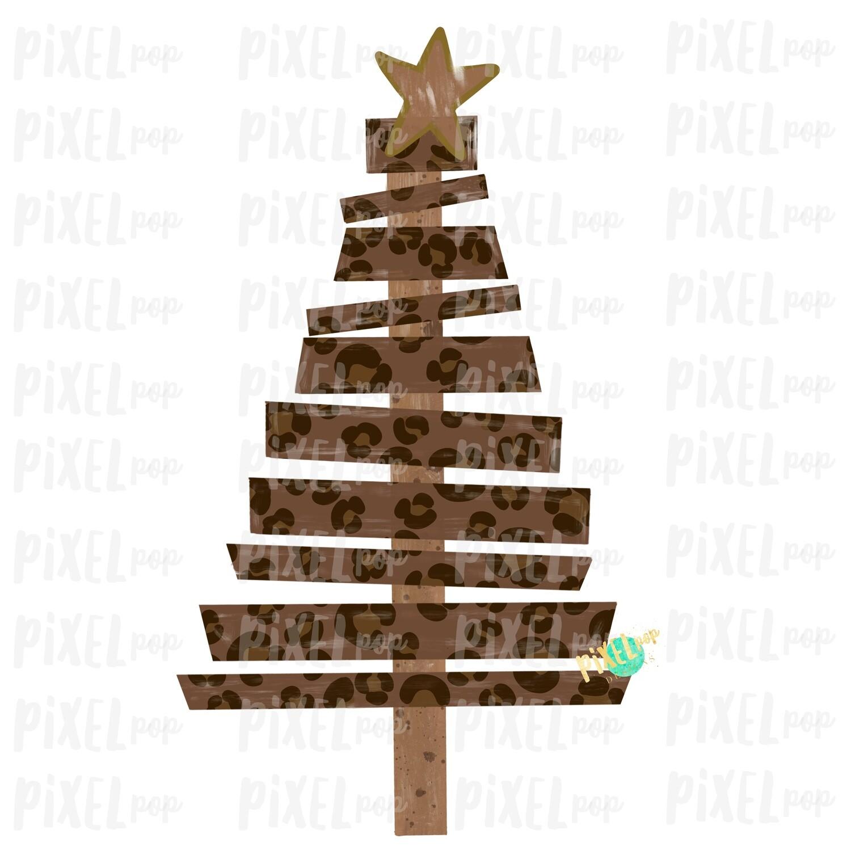 Wood Pallet Leopard Print Christmas Tree Sublimation PNG | Hand Painted Design | Sublimation PNG | Digital Download | Printable Artwork