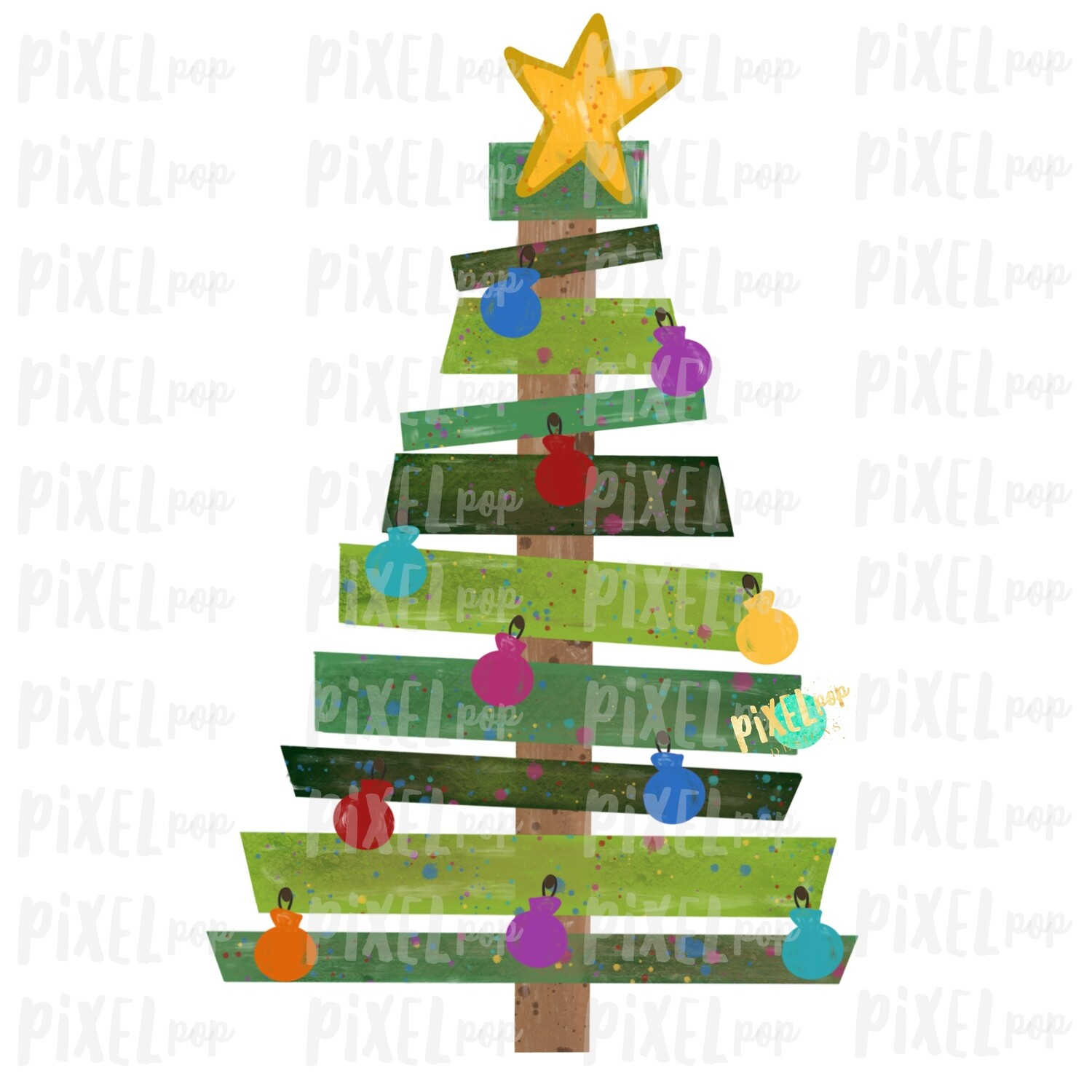 Wood Pallet Christmas Tree Sublimation PNG | Hand Painted Design | Digital Clip Art | Sublimation PNG | Digital Download | Printable Artwork