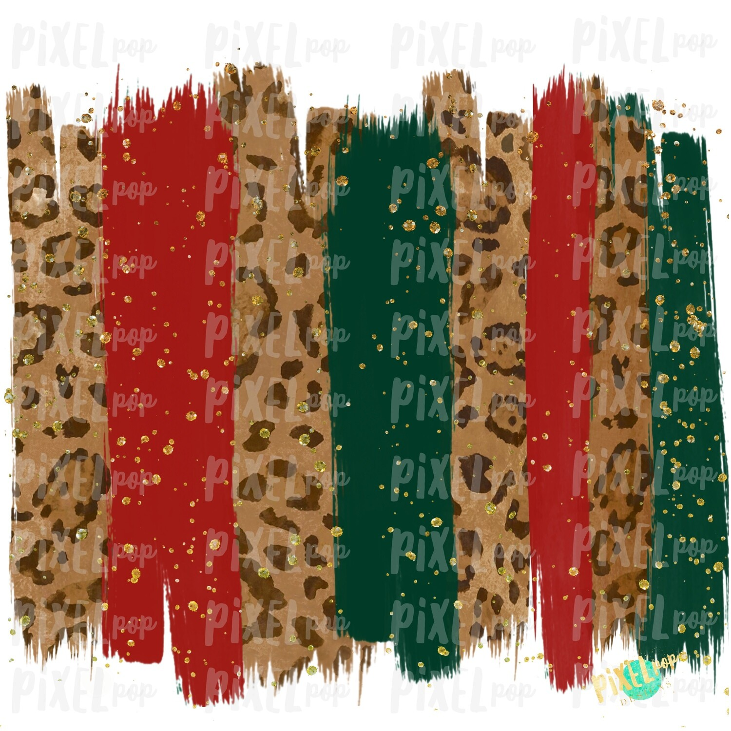Christmas Leopard Red and Hunter Green Brush Stroke Background Sublimation PNG | Background | Holiday | Art | Digital Print | Printable