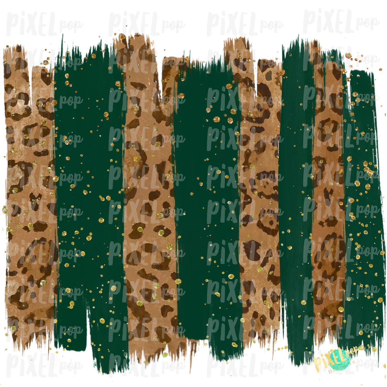 Christmas Leopard Hunter Green Brush Stroke Background Sublimation PNG   Glitter Gold Background   Holiday   Art   Digital Print   Printable