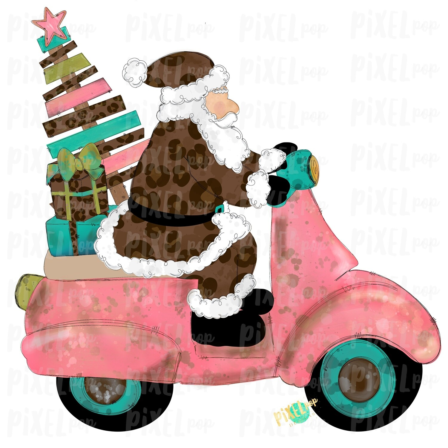 Moped Santa Leopard Sublimation PNG | Hand Drawn Art Sublimation PNG | Digital Download | Printable Artwork | Art
