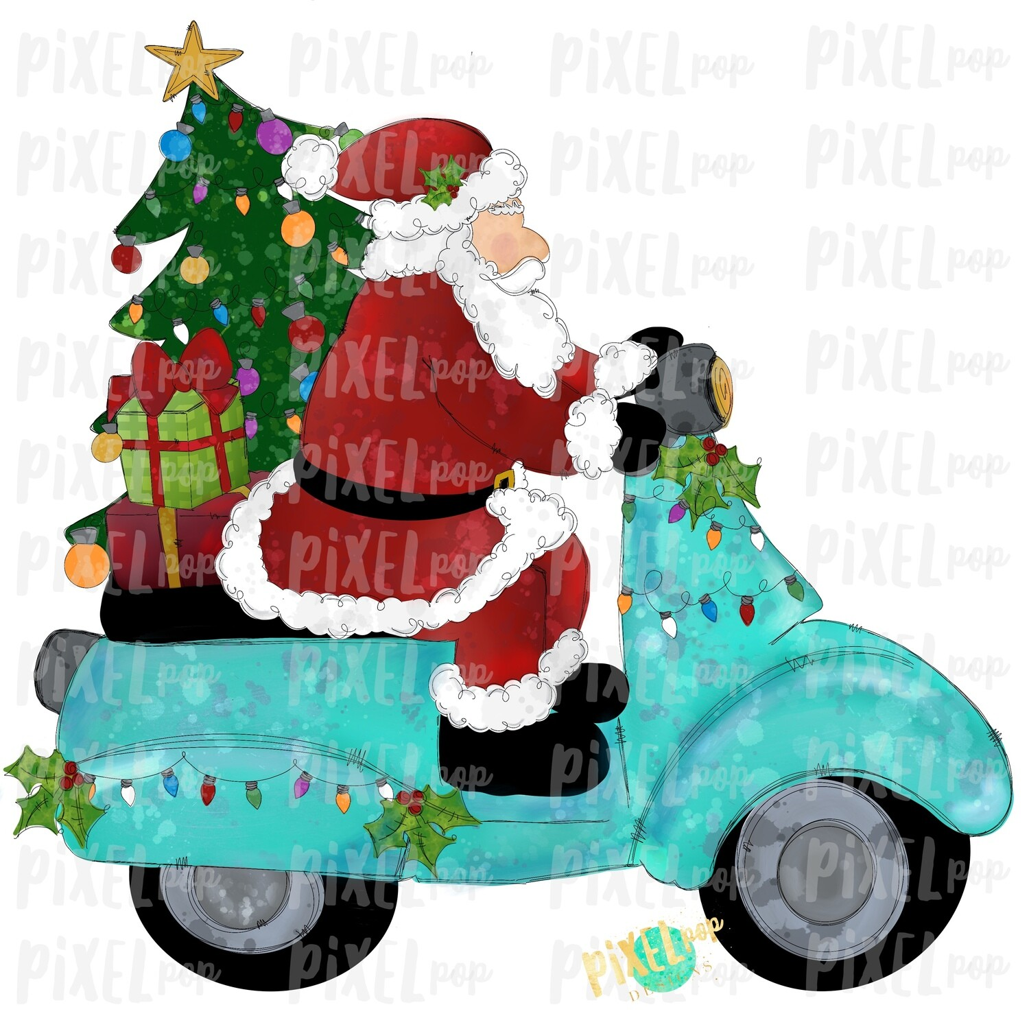 Moped Santa Traditional Sublimation PNG | Hand Drawn Art Sublimation PNG | Digital Download | Printable Artwork | Art