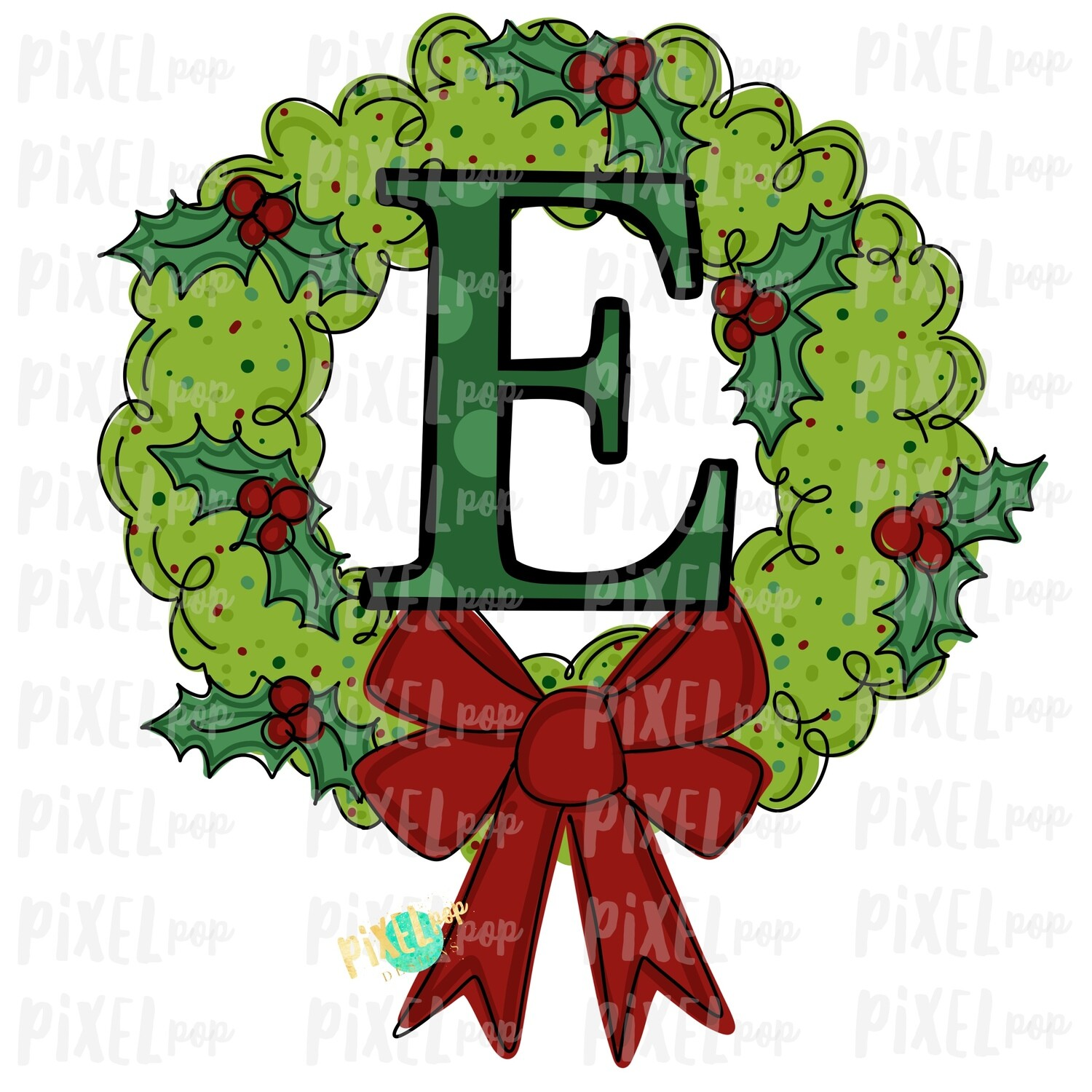 Whimsical Holly Wreath with E Monogram PNG | Christmas Sublimation | Hand Painted | Sublimation | Digital Download | Printable Artwork | Art