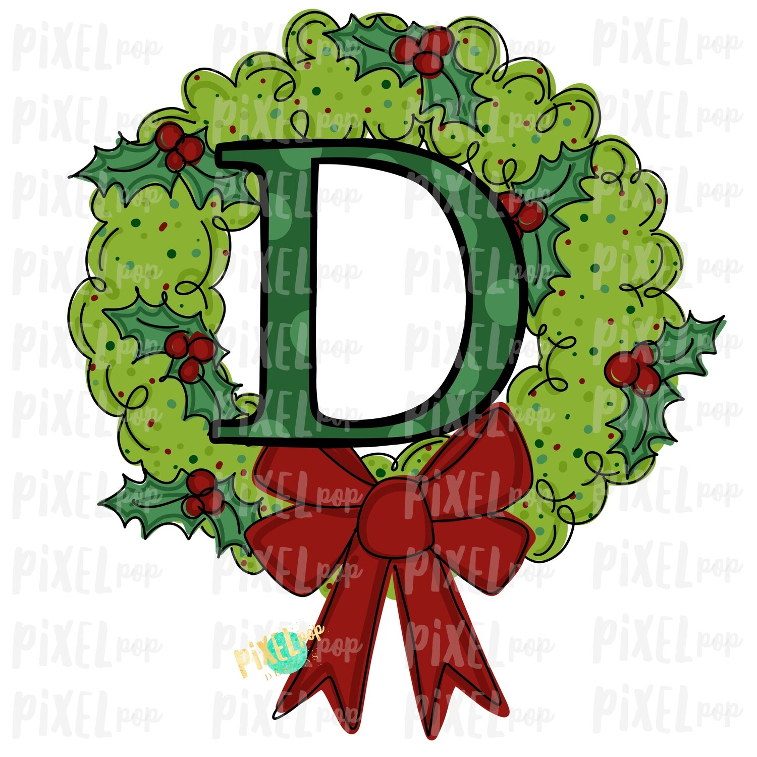 Whimsical Holly Wreath with D Monogram PNG | Christmas Sublimation | Hand Painted | Sublimation | Digital Download | Printable Artwork | Art