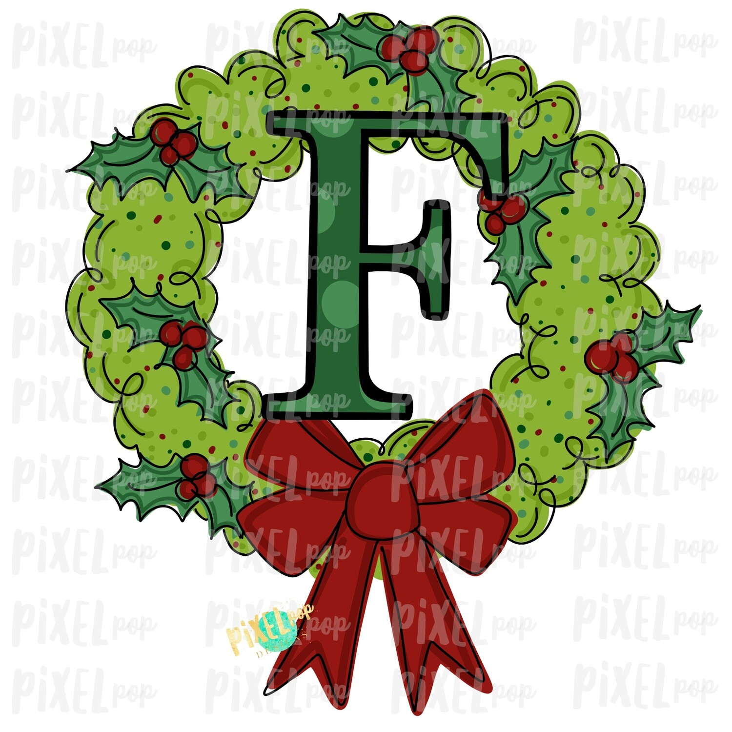Whimsical Holly Wreath with F Monogram PNG | Christmas Sublimation | Hand Painted | Sublimation | Digital Download | Printable Artwork | Art