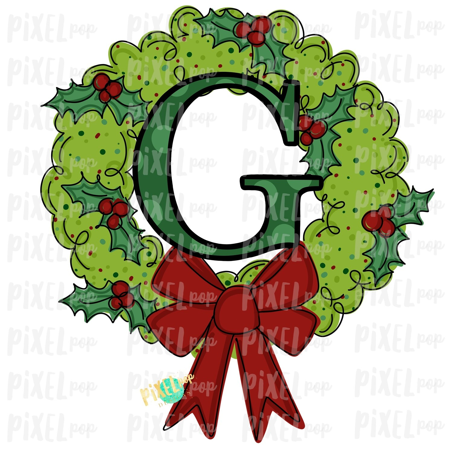 Whimsical Holly Wreath with G Monogram PNG | Christmas Sublimation | Hand Painted | Sublimation | Digital Download | Printable Artwork | Art