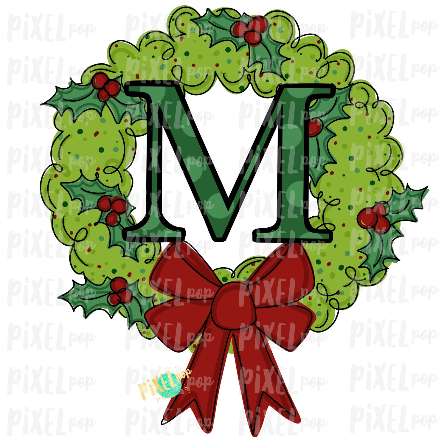 Whimsical Holly Wreath with M Monogram PNG | Christmas Sublimation | Hand Painted | Sublimation | Digital Download | Printable Artwork | Art