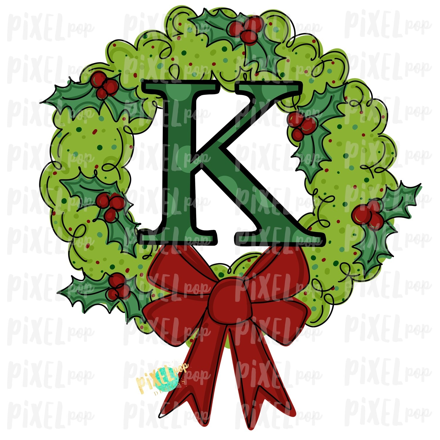 Whimsical Holly Wreath with K Monogram PNG | Christmas Sublimation | Hand Painted | Sublimation | Digital Download | Printable Artwork | Art