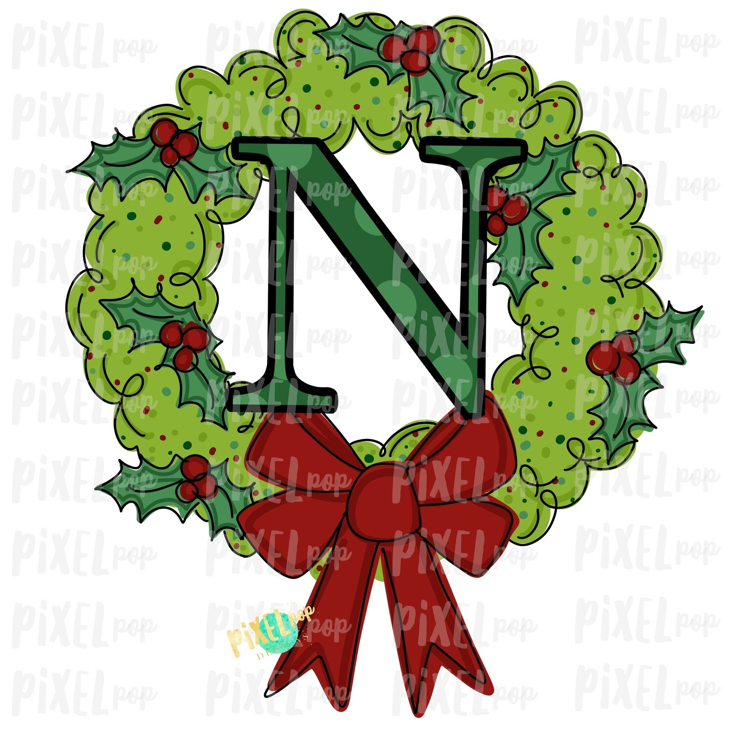 Whimsical Holly Wreath with N Monogram PNG | Christmas Sublimation | Hand Painted | Sublimation | Digital Download | Printable Artwork | Art