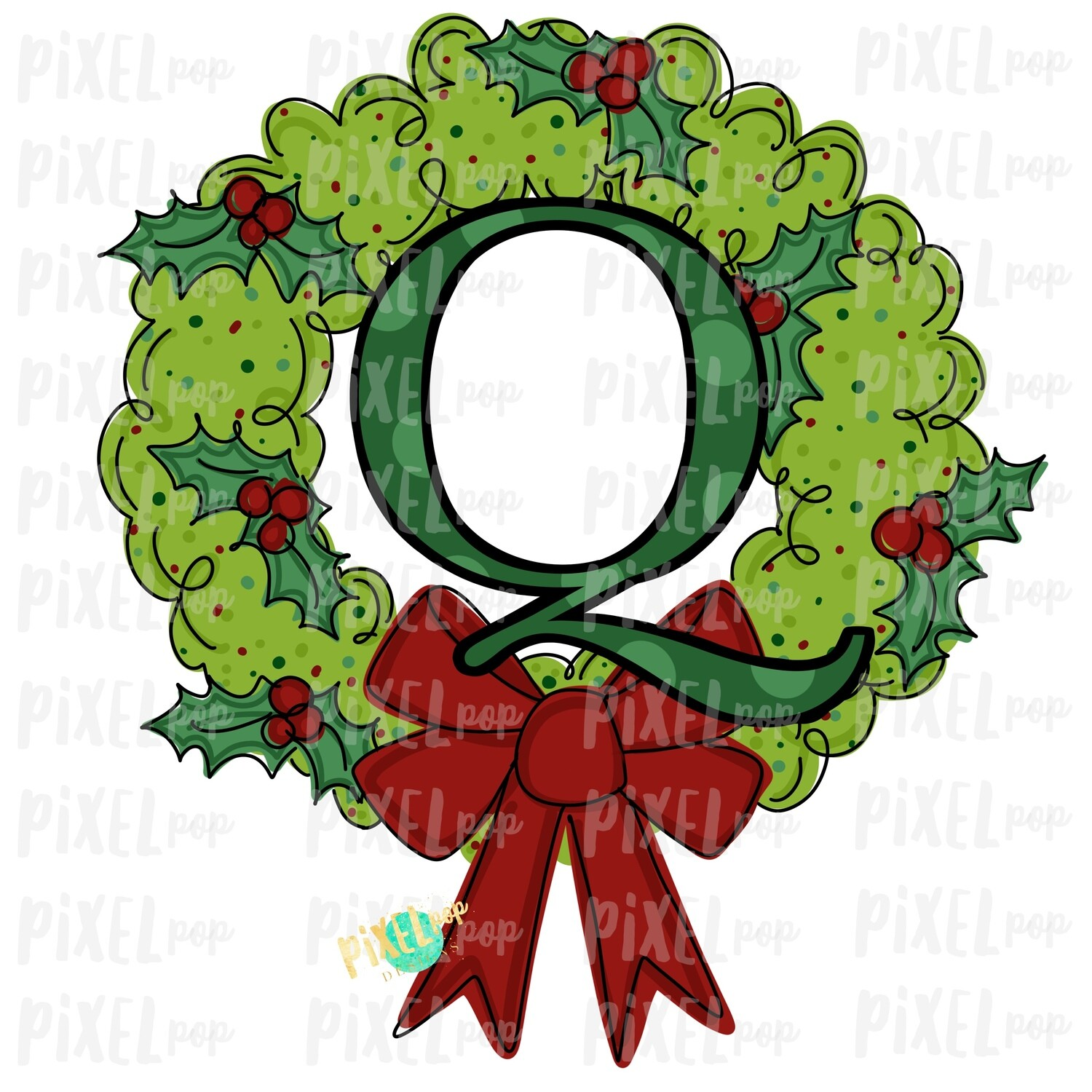 Whimsical Holly Wreath with Q Monogram PNG | Christmas Sublimation | Hand Painted | Sublimation | Digital Download | Printable Artwork | Art