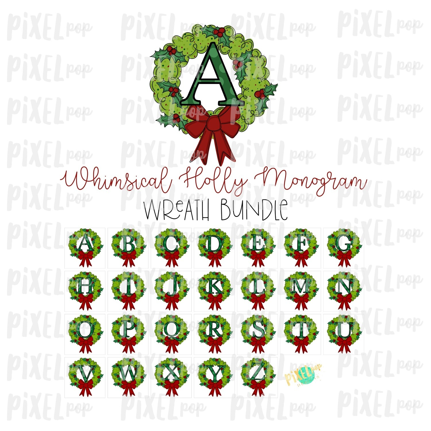 Whimsical Holly Monogram Wreath Bundle PNG Set | Christmas Sublimation | Hand Painted | Sublimation | Digital Download | Printable Artwork