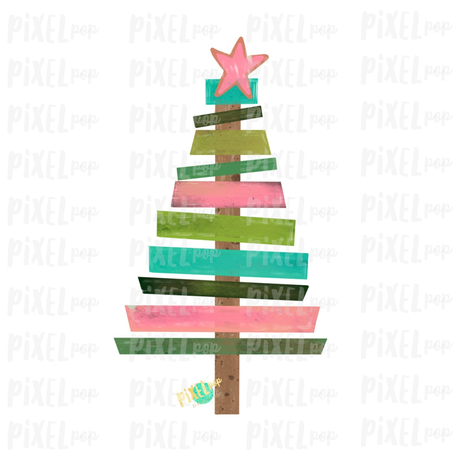 Wood Pallet Christmas Tree Pink and Turquoise PNG | Hand Drawn Art Sublimation PNG | Digital Download | Printable Artwork | Art