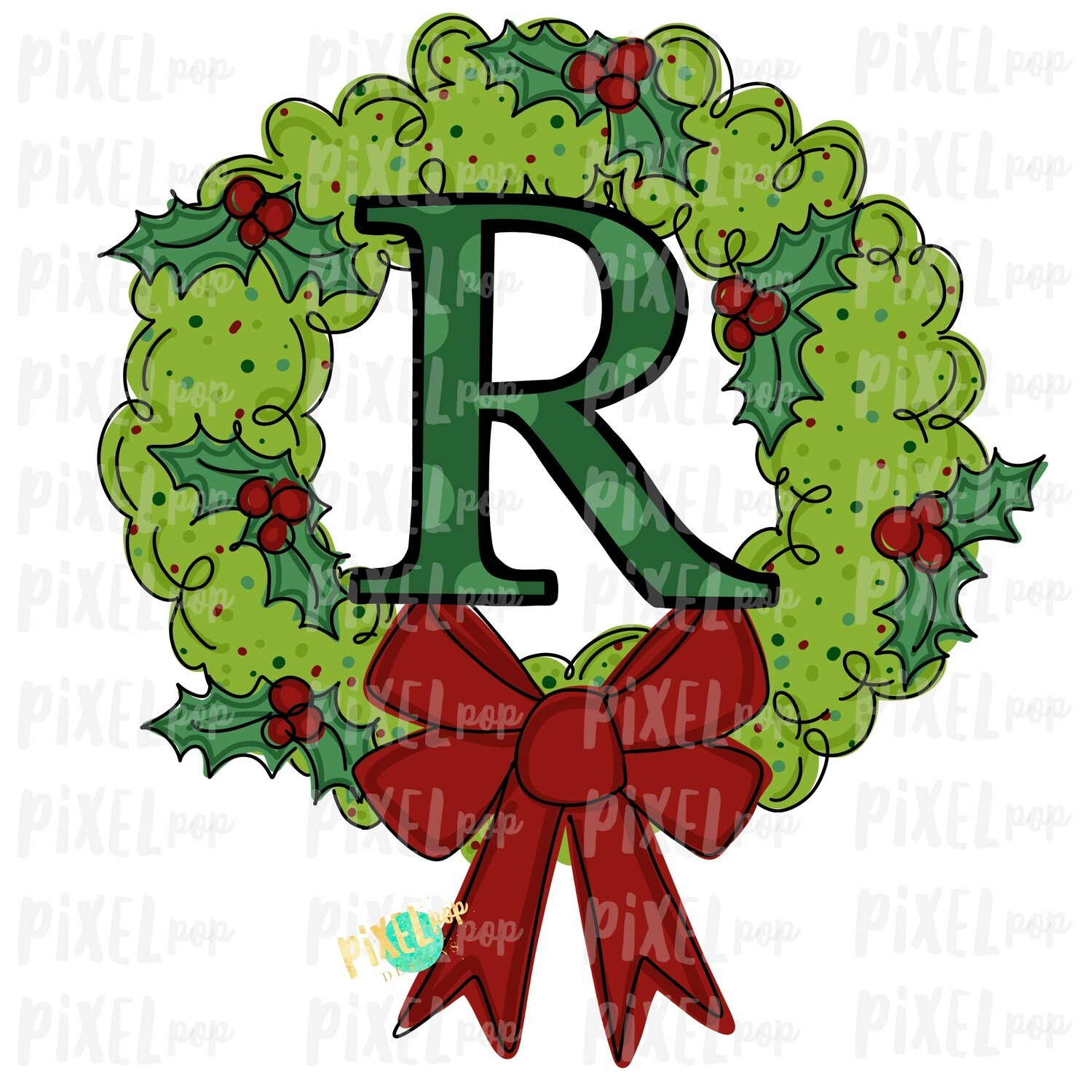 Whimsical Holly Wreath with R Monogram PNG | Christmas Sublimation | Hand Painted | Sublimation | Digital Download | Printable Artwork | Art