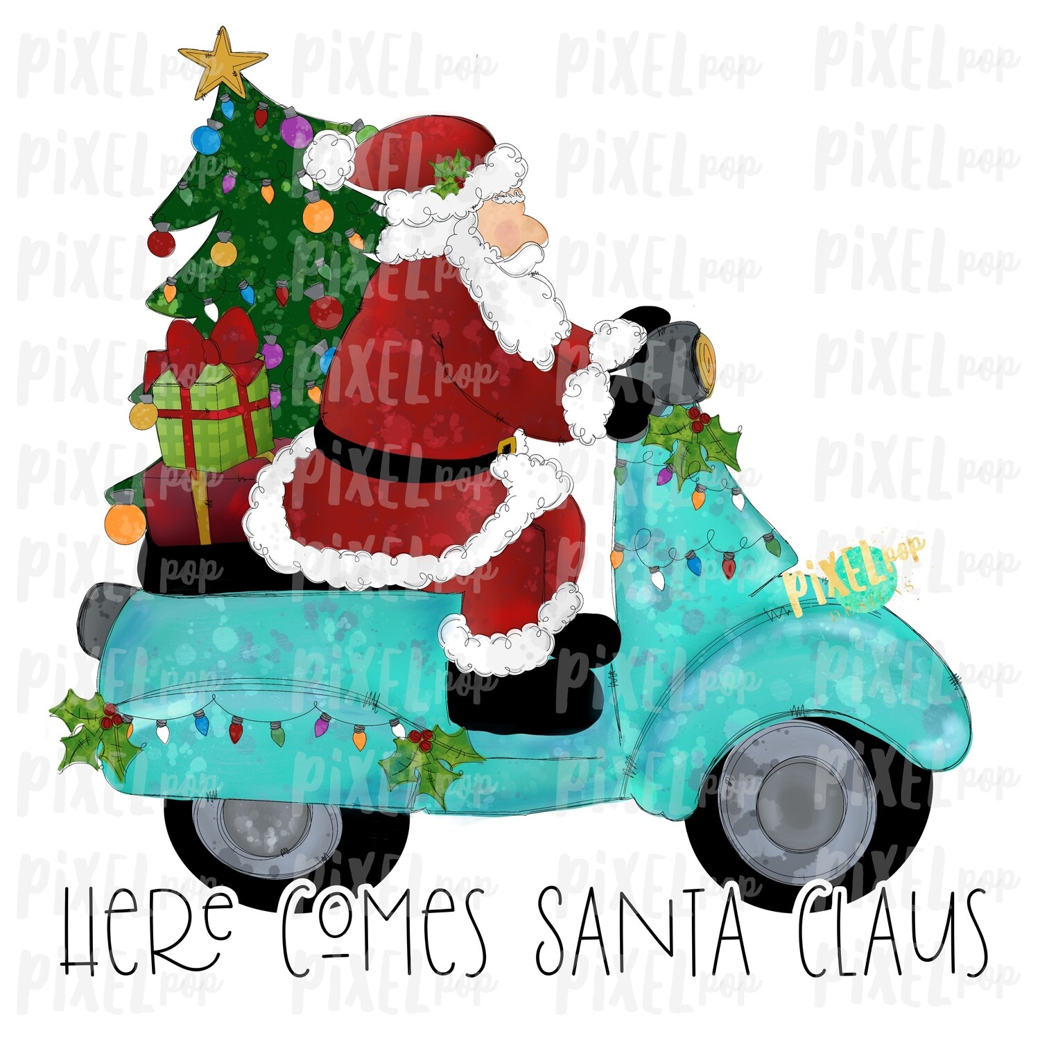 Here Comes Santa Claus Moped Sublimation PNG | Hand Drawn Art Sublimation PNG | Digital Download | Printable Artwork | Art