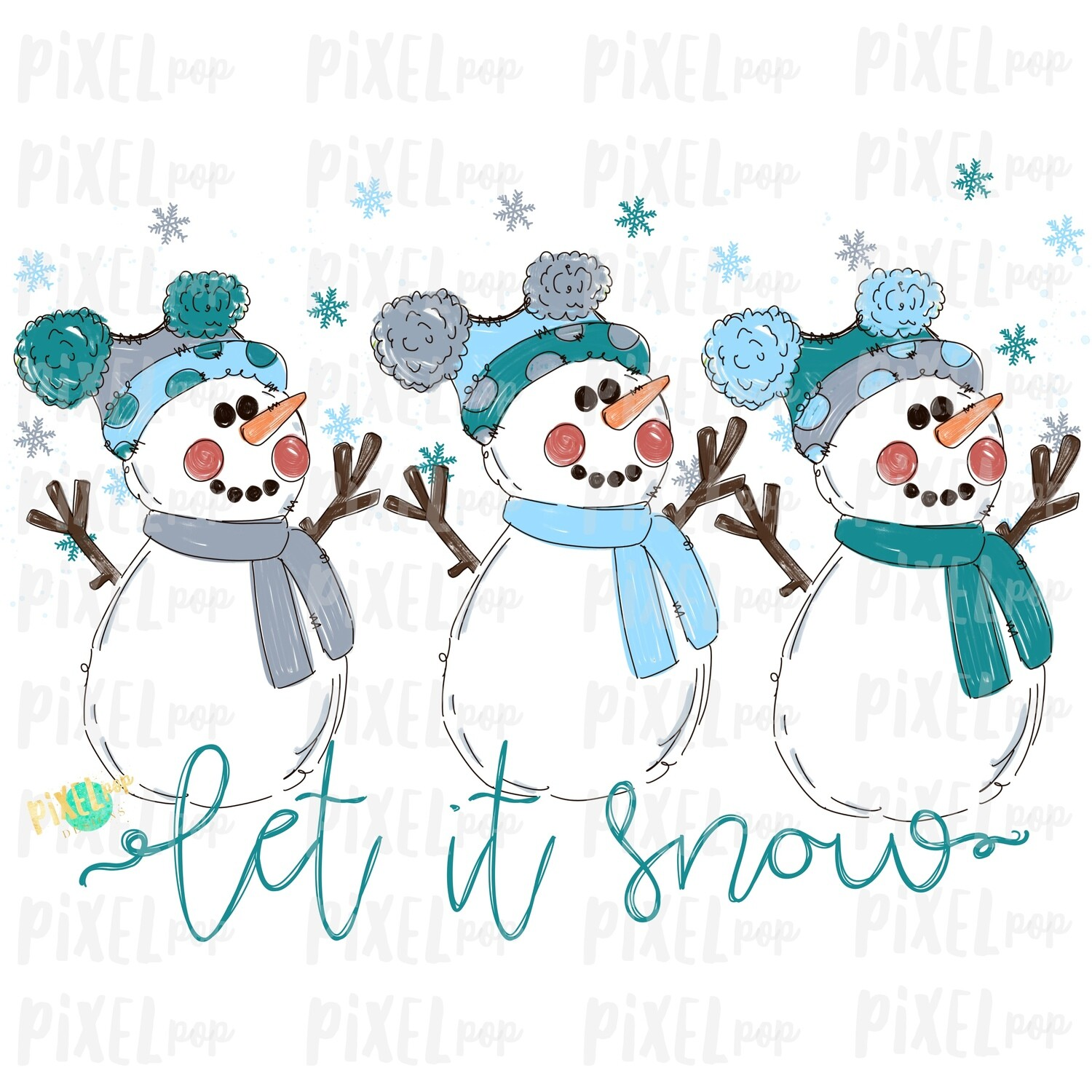 Let it Snow Snowman Trio Blues & Grey Watercolor Sublimation PNG | Hand Drawn Design | Sublimation PNG | Digital Download | Printable Art