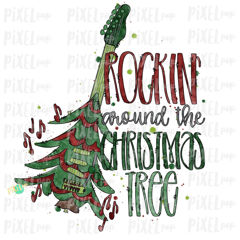 Guitar Rockin' Around the Christmas Tree Art Sublimation PNG | Hand Drawn | Sublimation | Digital Download | Printable Artwork | Art
