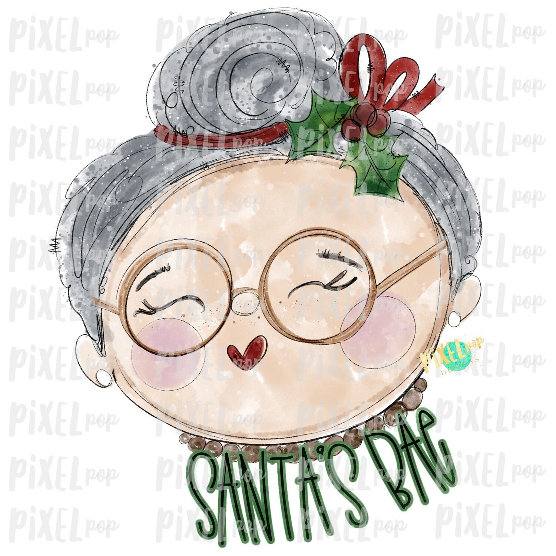 Mrs Claus Santa's Bae Watercolor PNG | Christmas Sublimation | Santa Claus | Art | Sublimation PNG | Digital Download | Printable Artwork