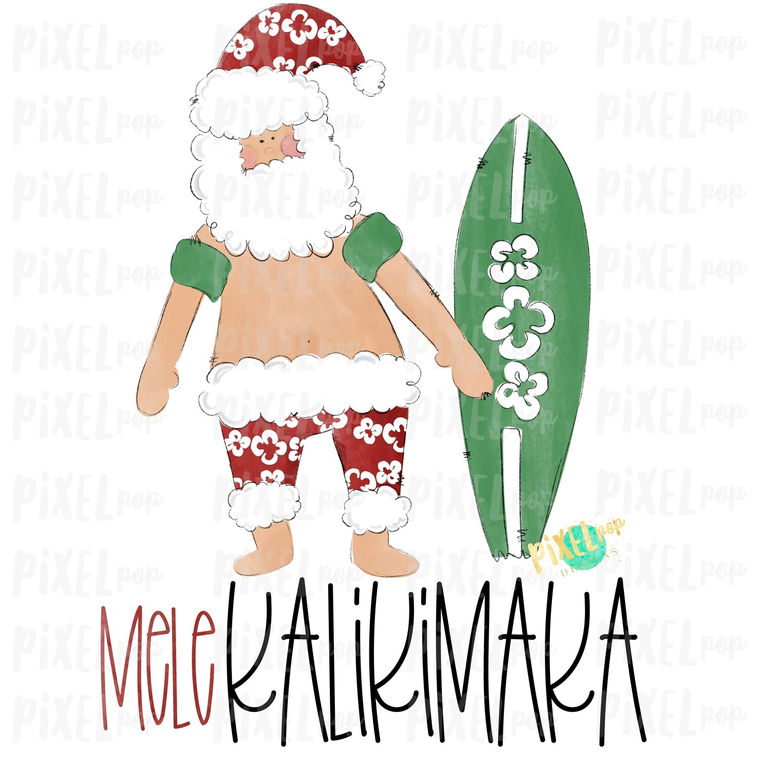 Mele Kalikimaka Santa Beach SublimationPNG | Watercolor Santa | Santa Claus | Art | Sublimation PNG | Digital Download | Printable Artwork