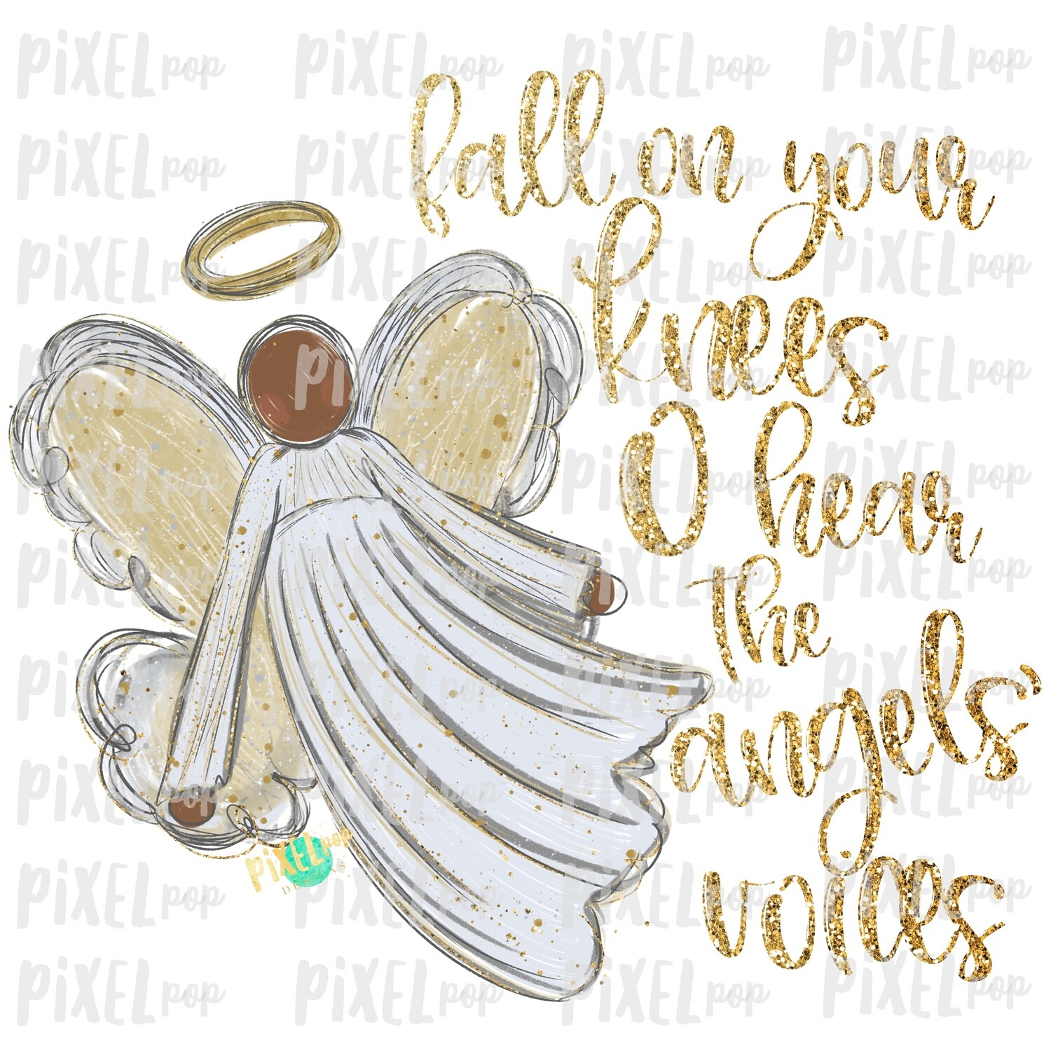Dark Skin Angel GLITTER Fall on Your Knees Art Sublimation PNG | Ornament Design | Hand Painted | Digital Download | Printable | Christmas