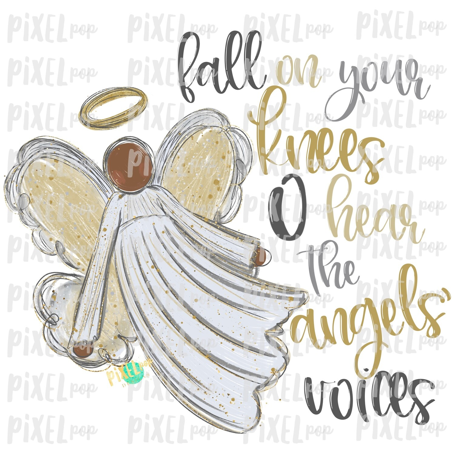 Dark Skin Angel Fall on Your Knees Digital Art Sublimation PNG | Ornament Design | Hand Painted | Digital Download | Printable | Christmas