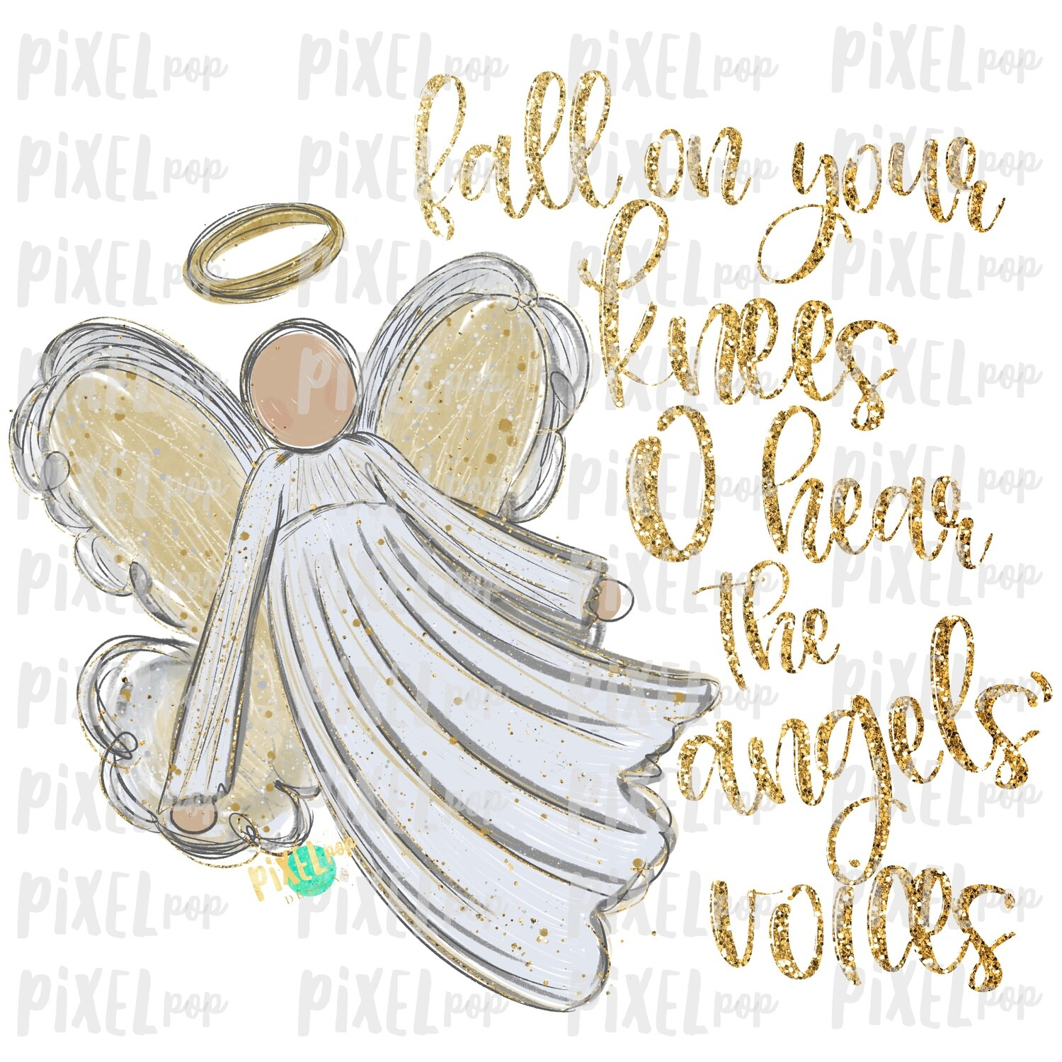 Light Skin Angel GLITTER Fall on Your Knees Art Sublimation PNG | Ornament Design | Hand Painted | Digital Download | Printable | Christmas