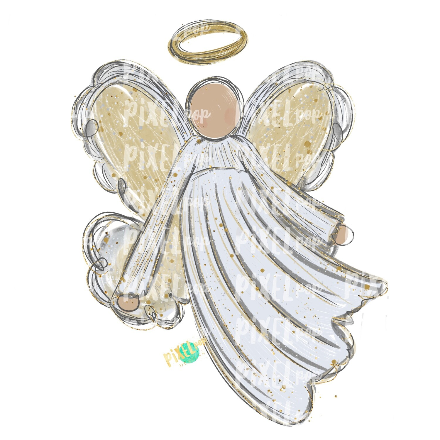 Light Skin Angel Watercolor Digital Art Sublimation PNG | Ornament Design | Hand Painted | Digital Download | Printable | Christmas | Loss