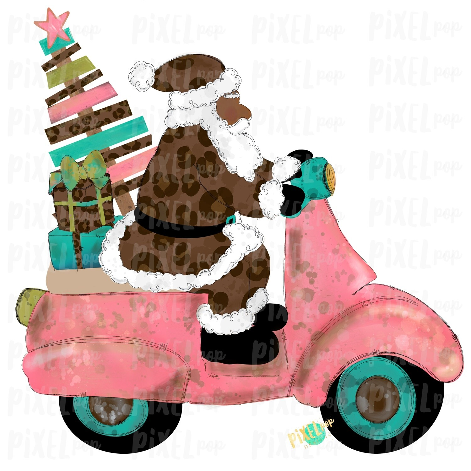 Moped Santa Dark Leopard SublimationPNG | Watercolor Santa | Santa Claus | Sublimation PNG | Digital Download | Printable Artwork | Art