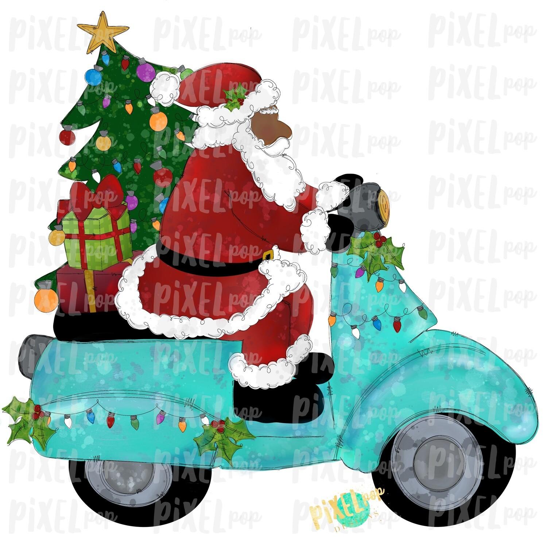 Moped Santa Dark Traditional SublimationPNG   Watercolor Santa   Santa Claus   Sublimation PNG   Digital Download   Printable Artwork   Art