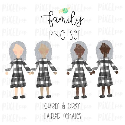 Grey Haired Females Curly (Female E) Assorted Skin Tones Stick People Figure Family Members Set PNG Sublimation | Family Ornament | Portrait